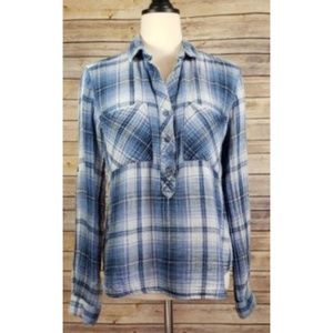 CLOTH & STONE Blue Plaid Popover Top